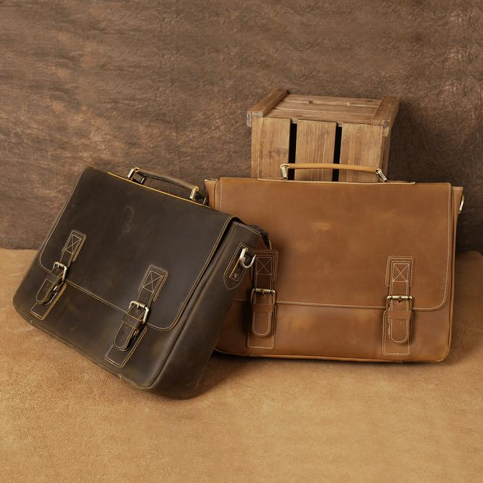 Purse - Vintage Leather Messenger Bag/Briefcase
