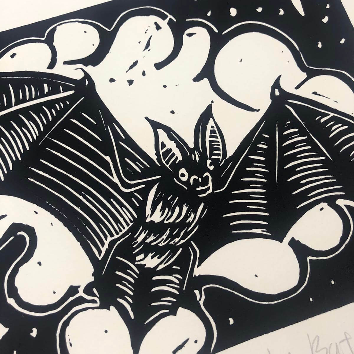 In the twilight Linocut hand printed