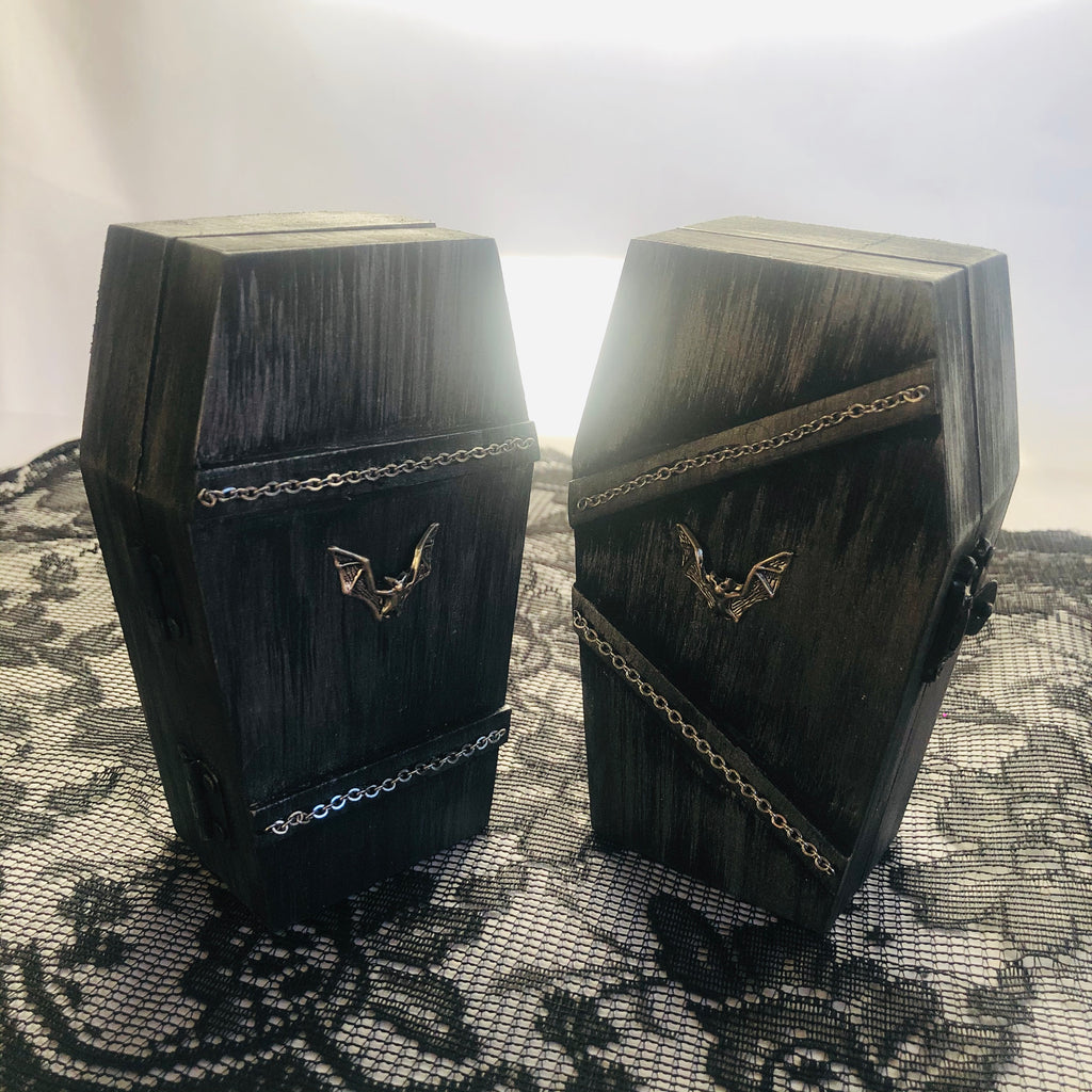 Painted Wood Coffin Box
