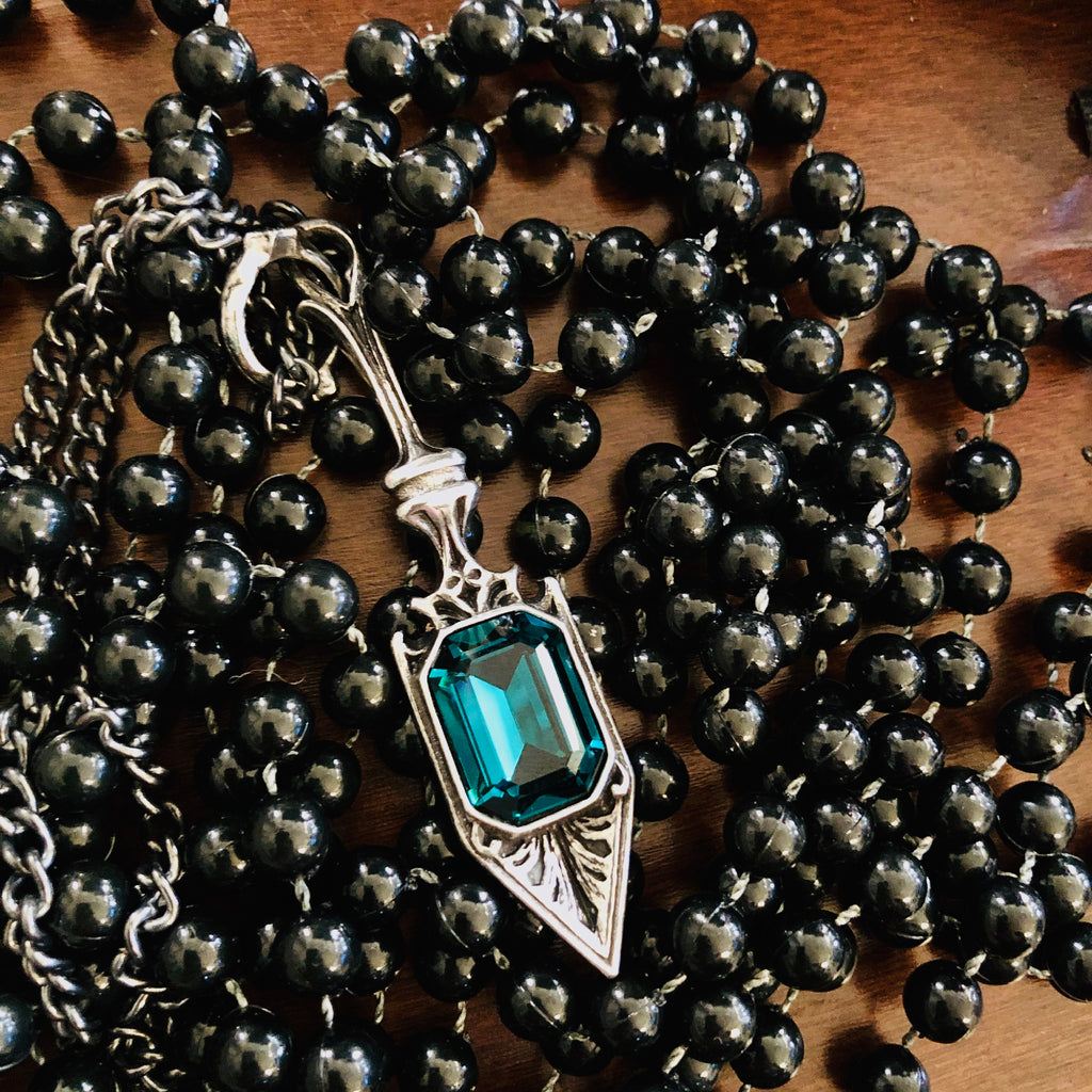 Absinthe Spoon Gem Pendant Necklace