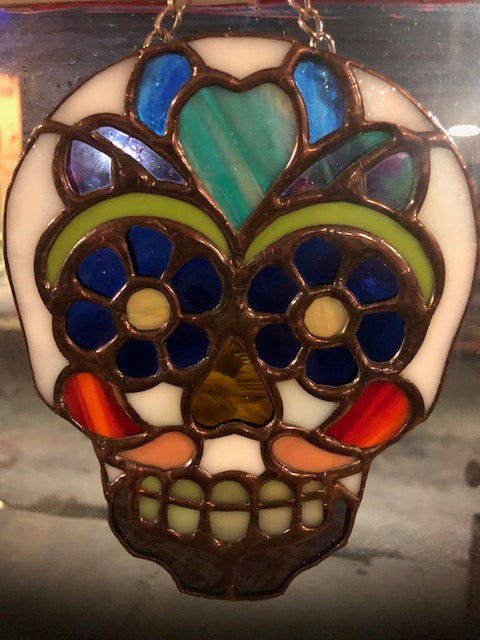 Stained Glass Sugar Skull Suncatcher (Small)