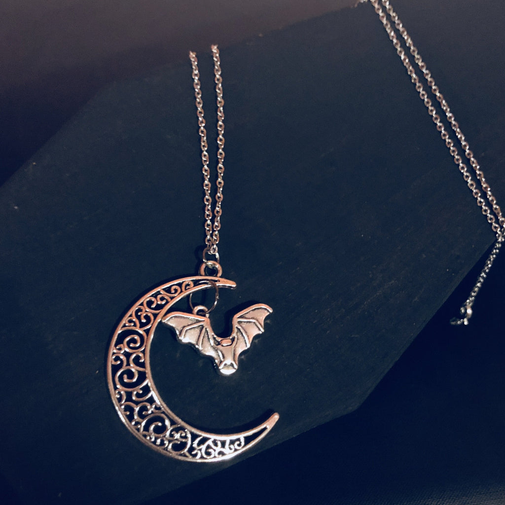 Bat Moon Pendant Necklace