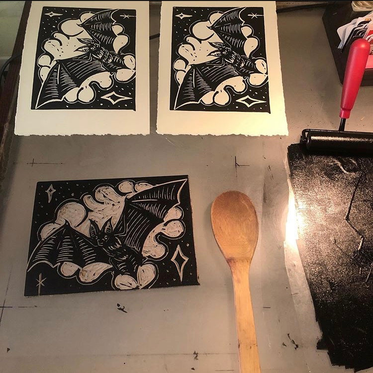 Print - Linocut Bat by Stacey Colangelo