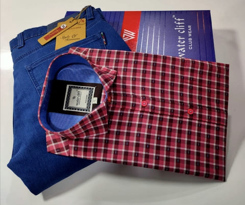 Men's Combo Red Check Shirt