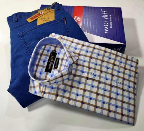 Men's Combo Blue and Grey Checked Shirt