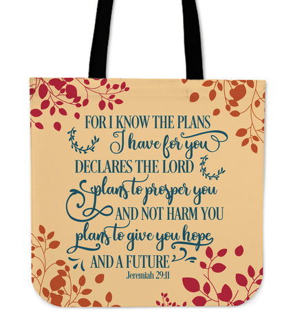 Inspirational Tote Bag Jeremiah 29.11