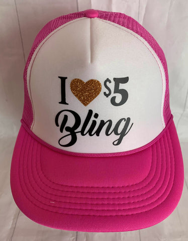 I Heart $5 Bling pink and white hat