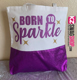Personalized Bling White with Glitter Purple Bottom Tote