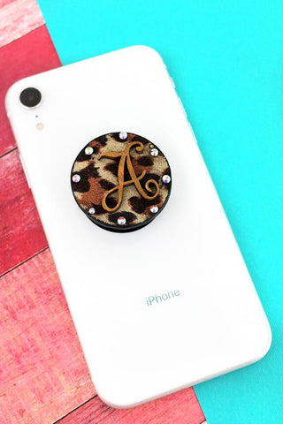 BLING CRYSTAL ACCENTED LEOPARD AND WOOD PHONE GRIP & STAND - SEVERAL INITIALS AVAILABLE