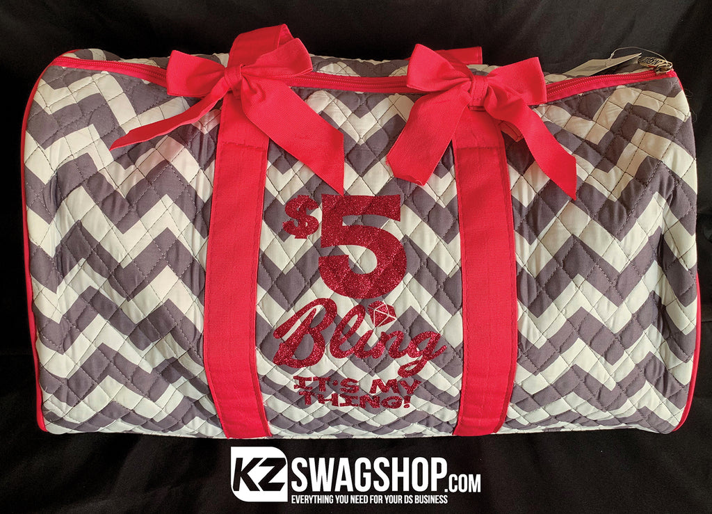 $5 Bling is my Thing Grey Chevron Quilted Large Duffle Bag