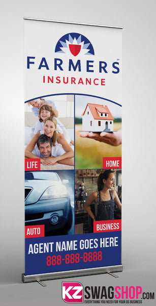 Farmers Insurance Retractable Banner Style 2 Kz Swag Shop