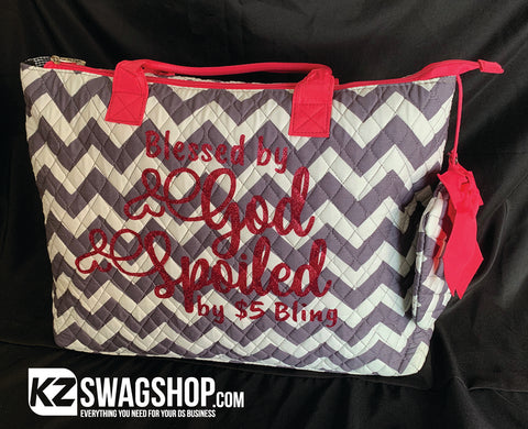 Bless By God Spoiled by $5 Bling by Grey Chevron NGIL Quilted Overnight Tote Bag + FREE SURPRISE GIFT