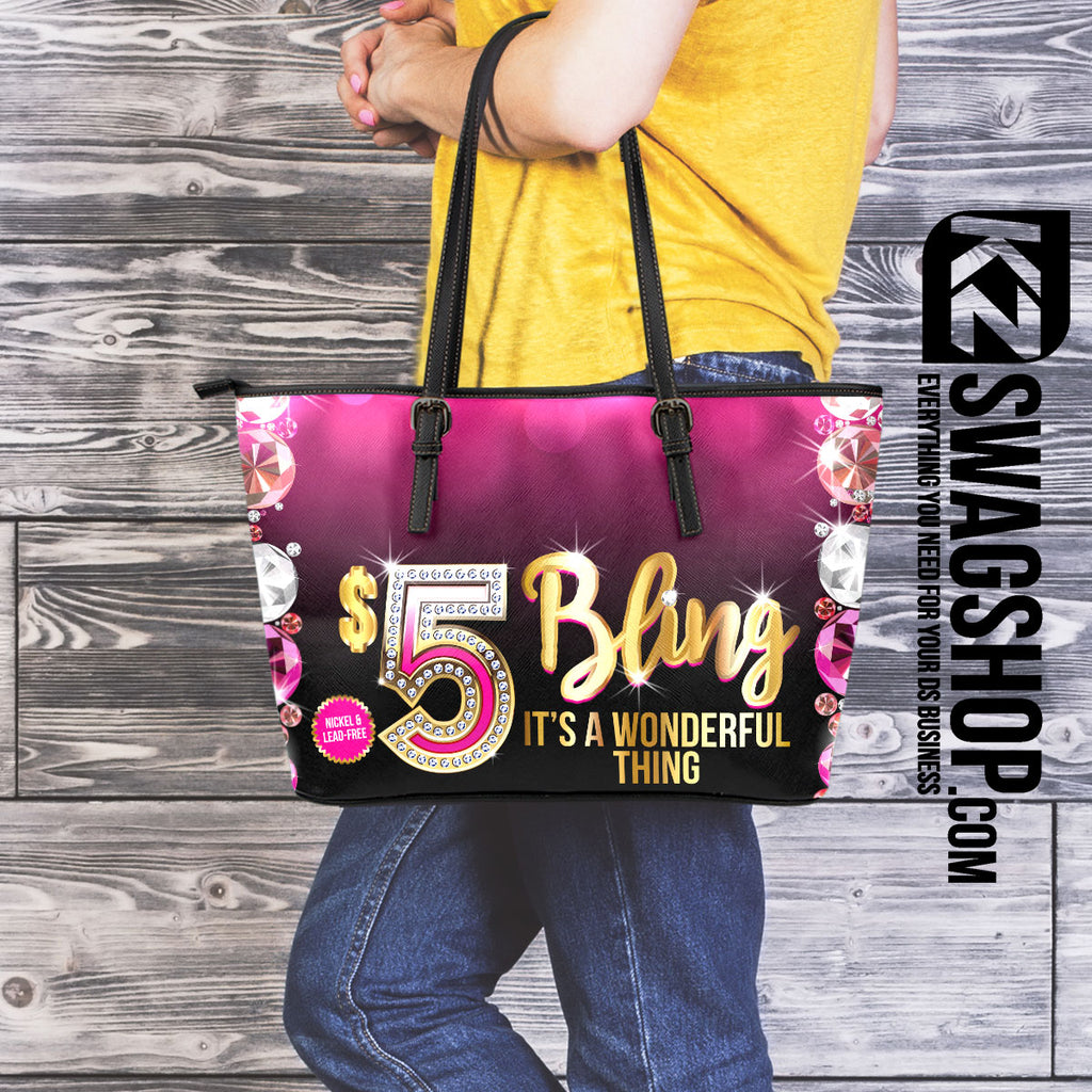 $5 Bling Large Leather* Tote Bag - GEMZ