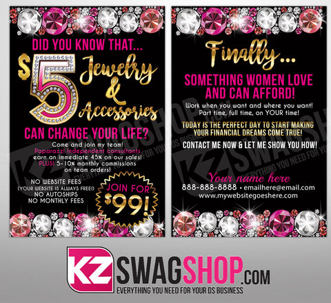 $5 Bling - 4x6 Recruiting Blitz Cards GEMZ- PERSONALIZED