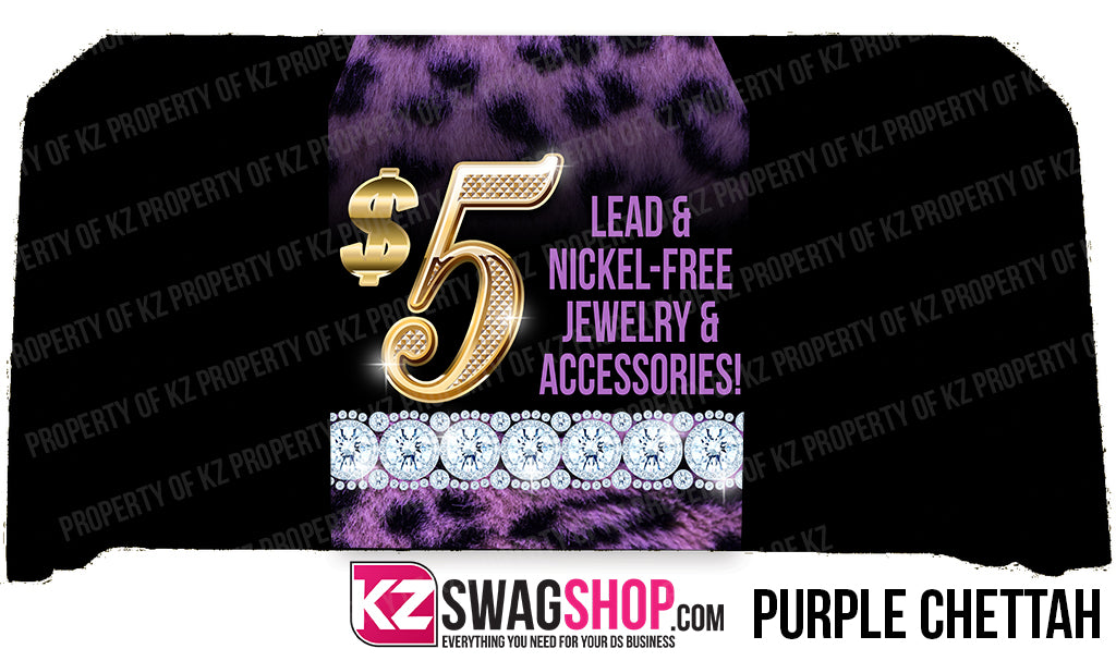 $5 Bling  24x72 Table Runner- PURPLE CHEETAH