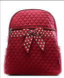 Bling Personalized Burgundy and White Quilted Backpack