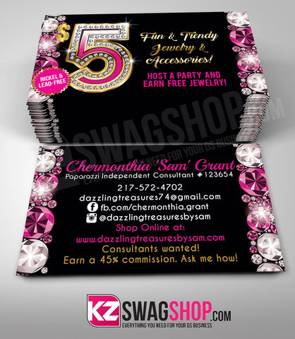 $5 Bling Jewelry Business Cards Style 13 - GEMZ