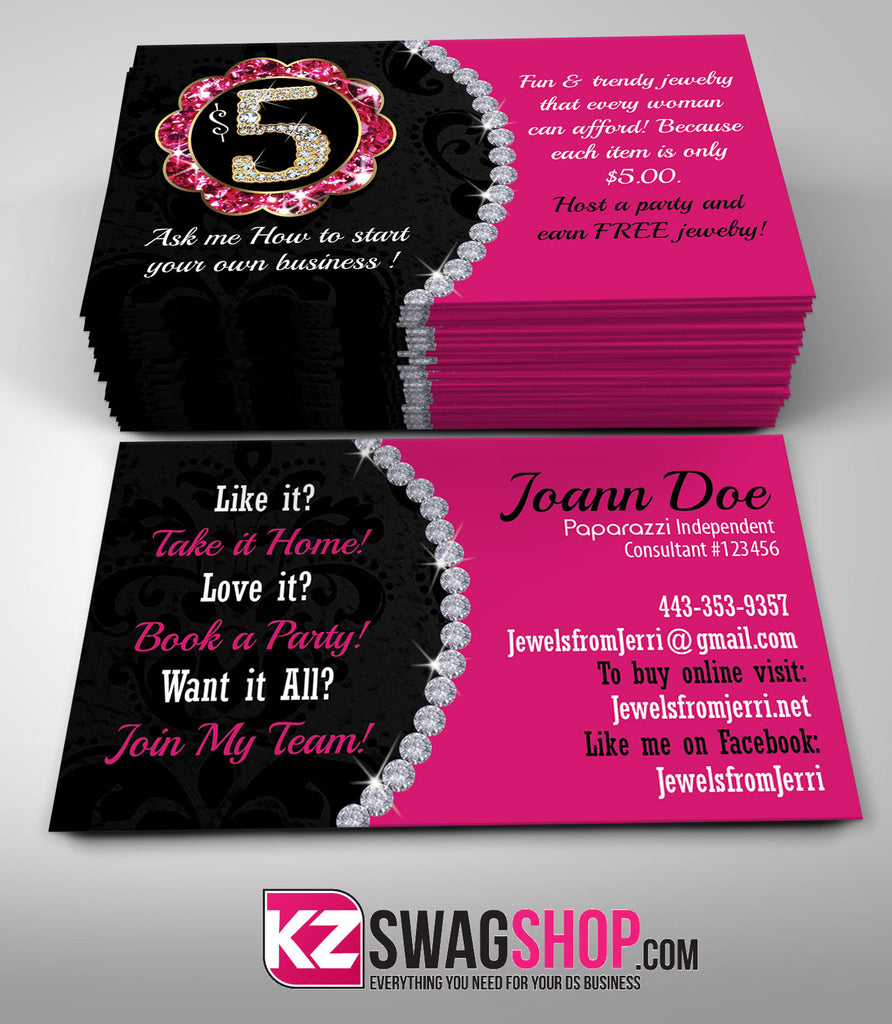 5 Bling Jewelry Business Cards Style 1