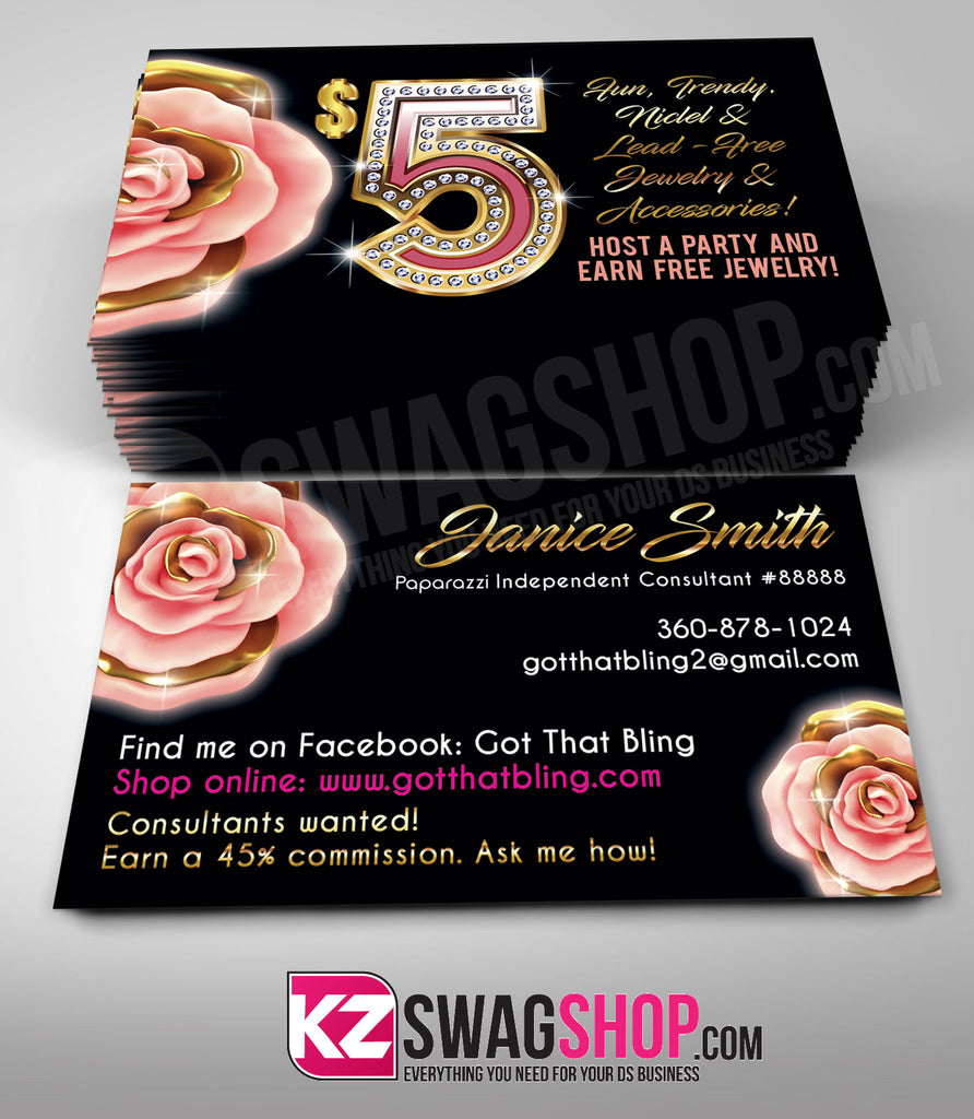 $5 Bling Jewelry Business Cards Style 30