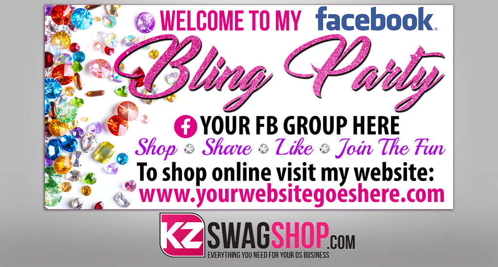 Bling Party! - 4x2 Facebook Party Horizontal Vinyl Banner - Jewels