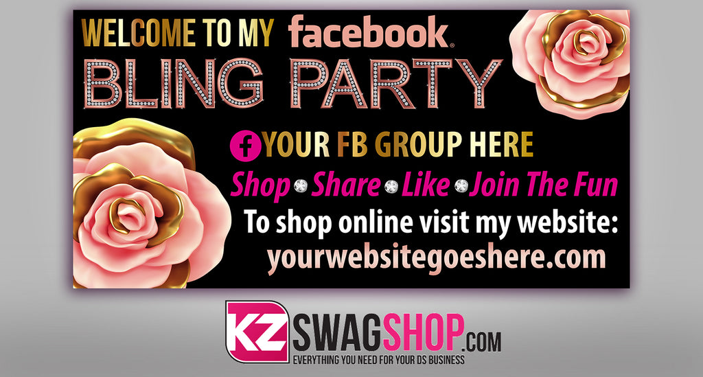 Bling Party! - 4x2 Facebook Party Horizontal Vinyl Banner - Spring