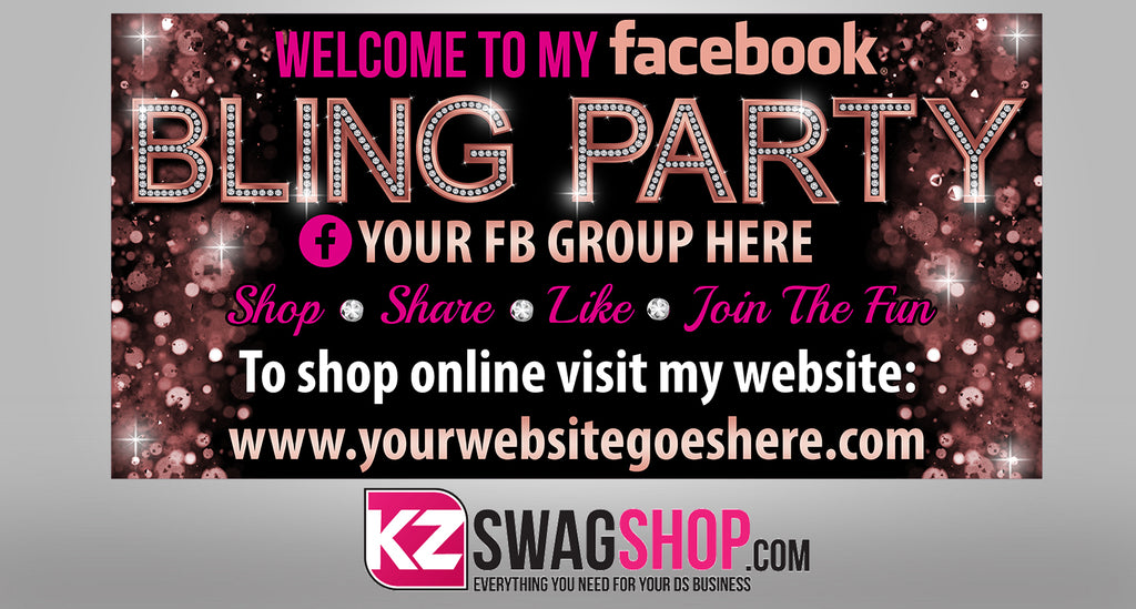Bling Party! - 4x2 Facebook Party Horizontal Vinyl Banner - RoseGold