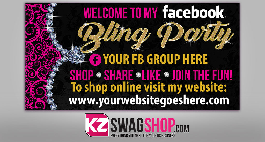 Bling Party! - 4x2 Facebook Party Horizontal Vinyl Banner - Glam