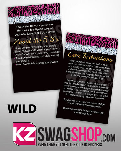 $5 Bling Jewelry Care Card Instructions - PERSONALIZED