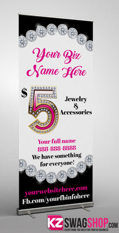 $5 Bling Retractable Banner style 15 - Personalized