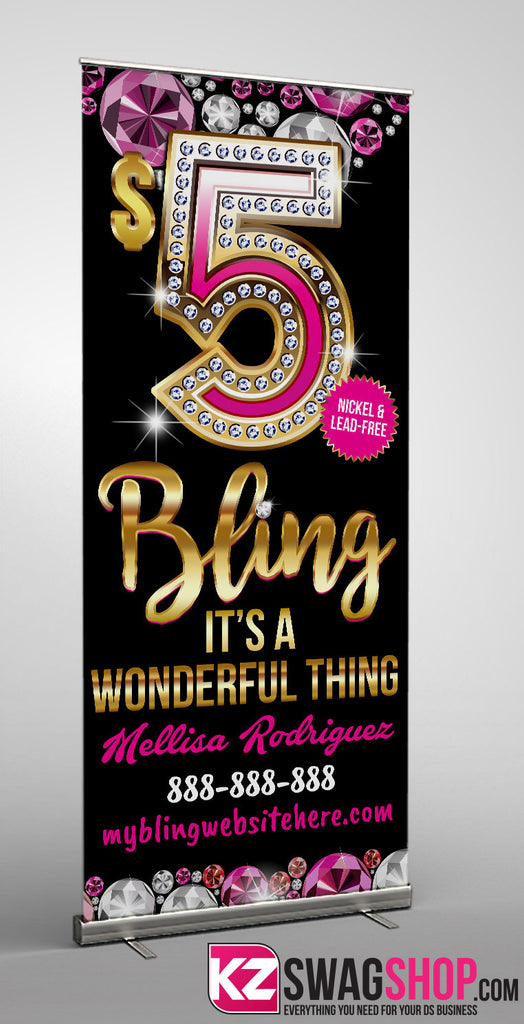 $5 Bling Retractable Banner style 16 - Personalized