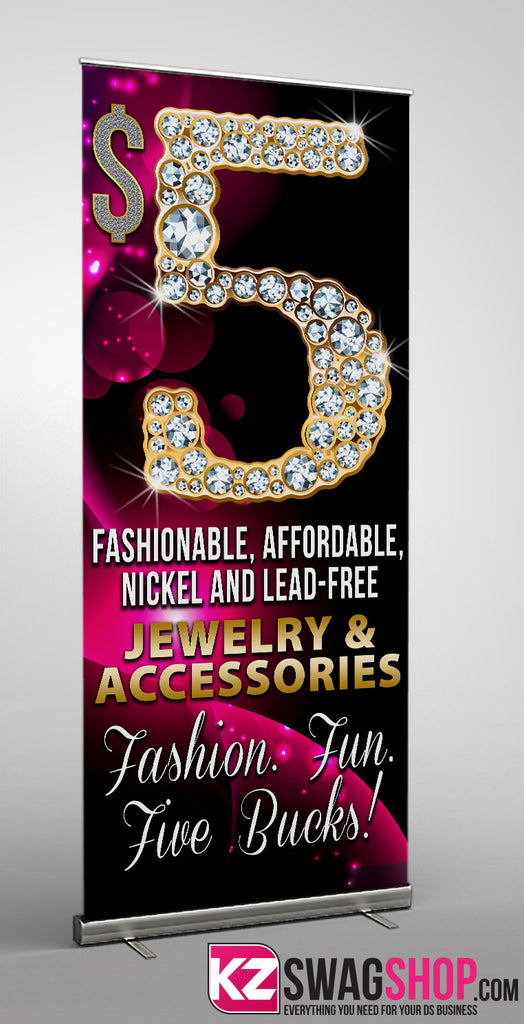 5 Bling Retractable Banner Style 1 Kz Swag Shop