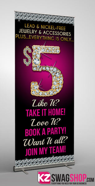 5 Bling Retractable Banner Style 4 Kz Swag Shop