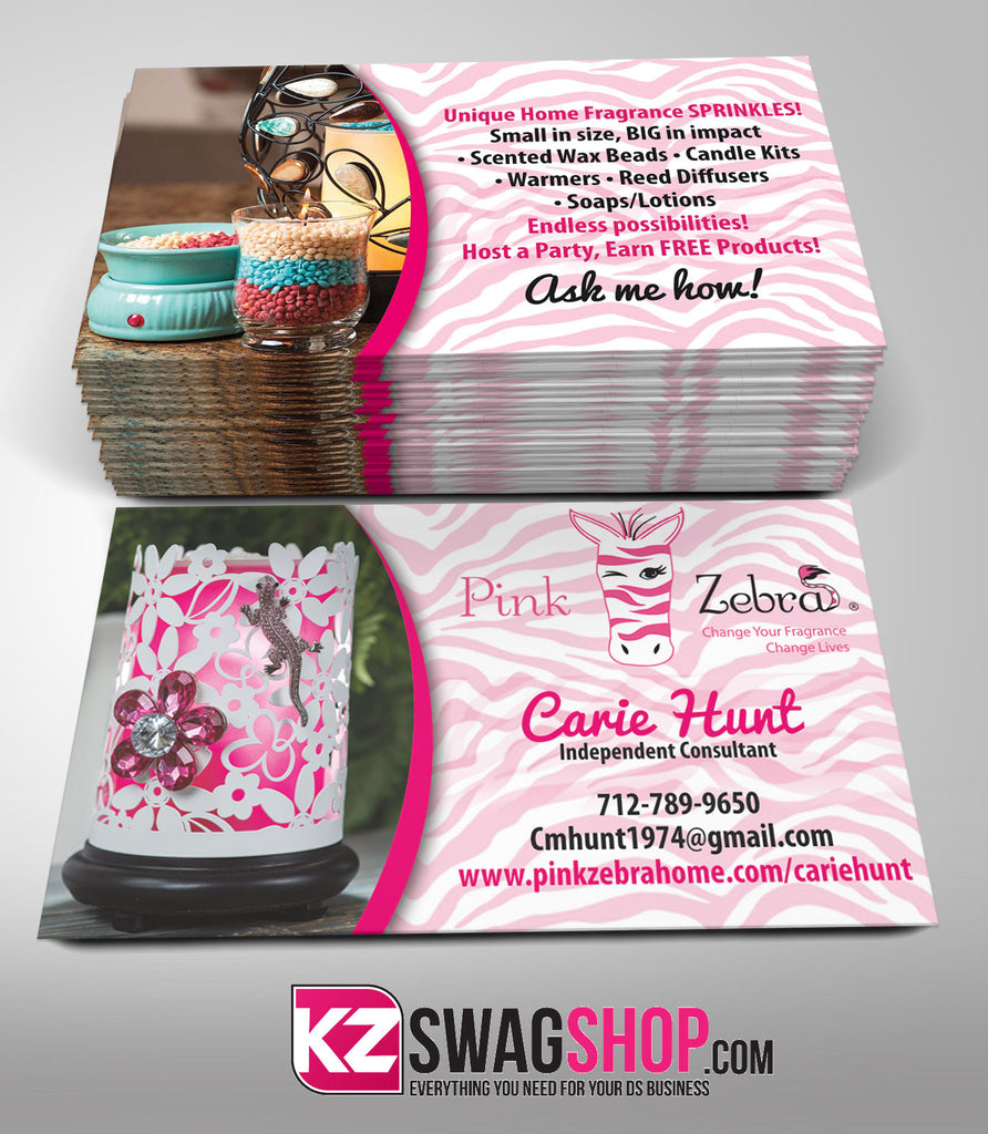 Pink Zebra Business Cards Style 1 – KZ Swag Shop