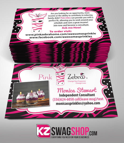 Pink Zebra Business Cards Style 2 Kz Swag Shop