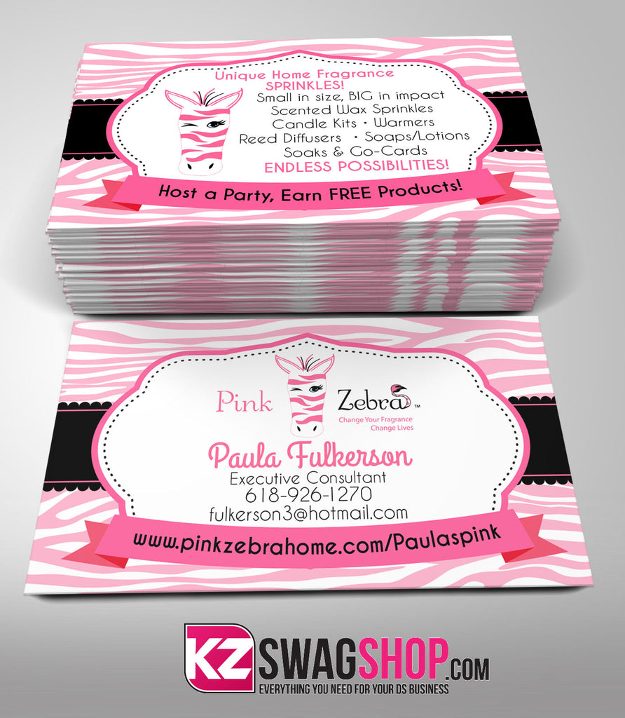 Pink Zebra Business Cards Style 3 – KZ Swag Shop