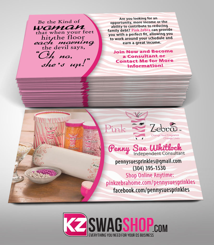 Pink Zebra Business Cards Style 4 – KZ Swag Shop