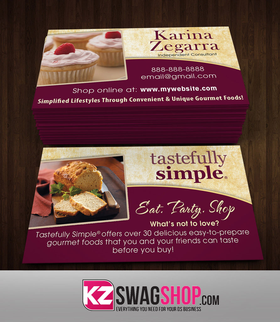 Tastefully Simple Business Cards Style 1 – KZ Swag Shop