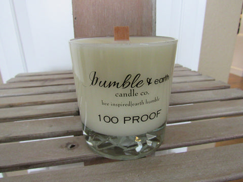100 proof whiskey rocks glass 12 oz estate jar candle, apothecary glass jar, pride of dakota, wood wick, whiskey caramel, soy - bumble & earth candle co.