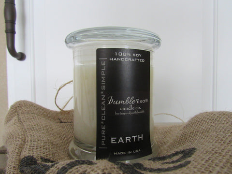 earth jar 12 oz estate jar candle, apothecary glass jar, pride of dakota, wood wick, soy, cotton wick, lemon grass, ginger, cardamon - bumble & earth candle co.