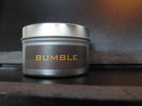 bumble travel tin 6 oz. travel tin candle, pride of dakota, wood wick, 100 % beeswax - bumble & earth candle co.