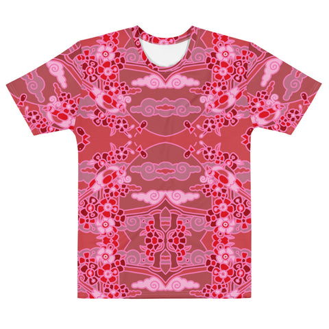 All Over Print T-Shirt: Red Ombre Birds