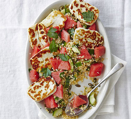 Halloumi Watermelon Bulgur Salad