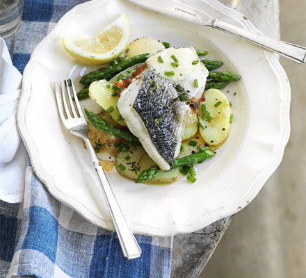 Sea Bass With Asparagus Jersey Royals
