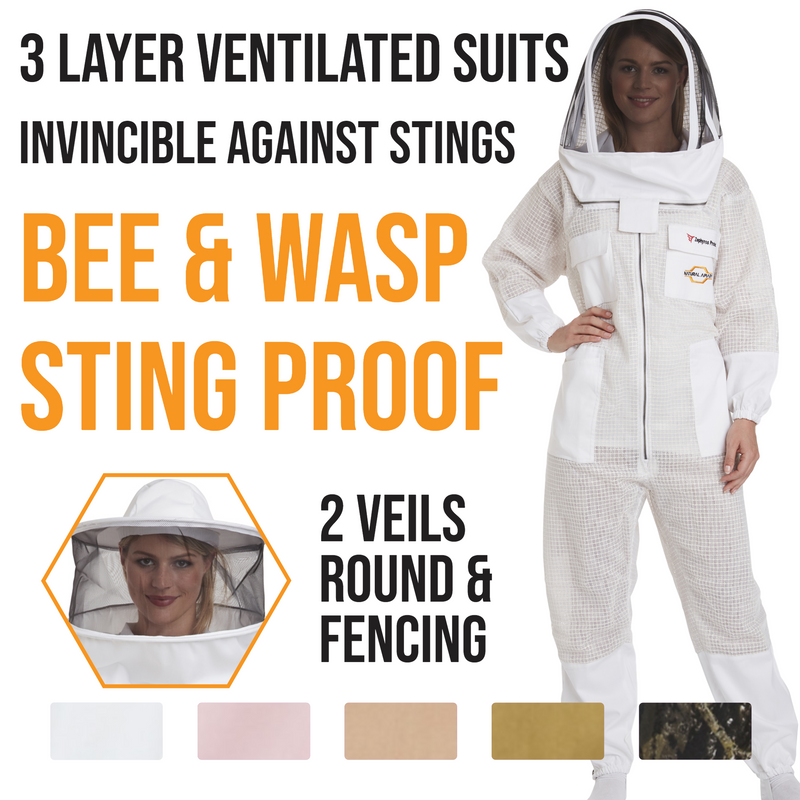 Ventilated Beekeeping Suits with Round & Fencing Veils
