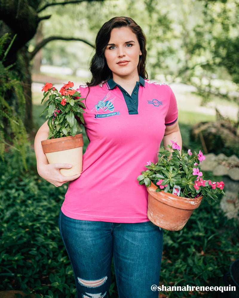 Natural Apiary Pink Polo Shirt Women Beekeeper in Backyard Apiary