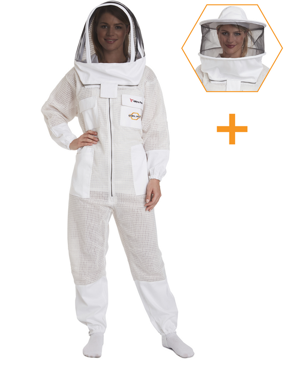 white ventilated beekeeping suit round veil