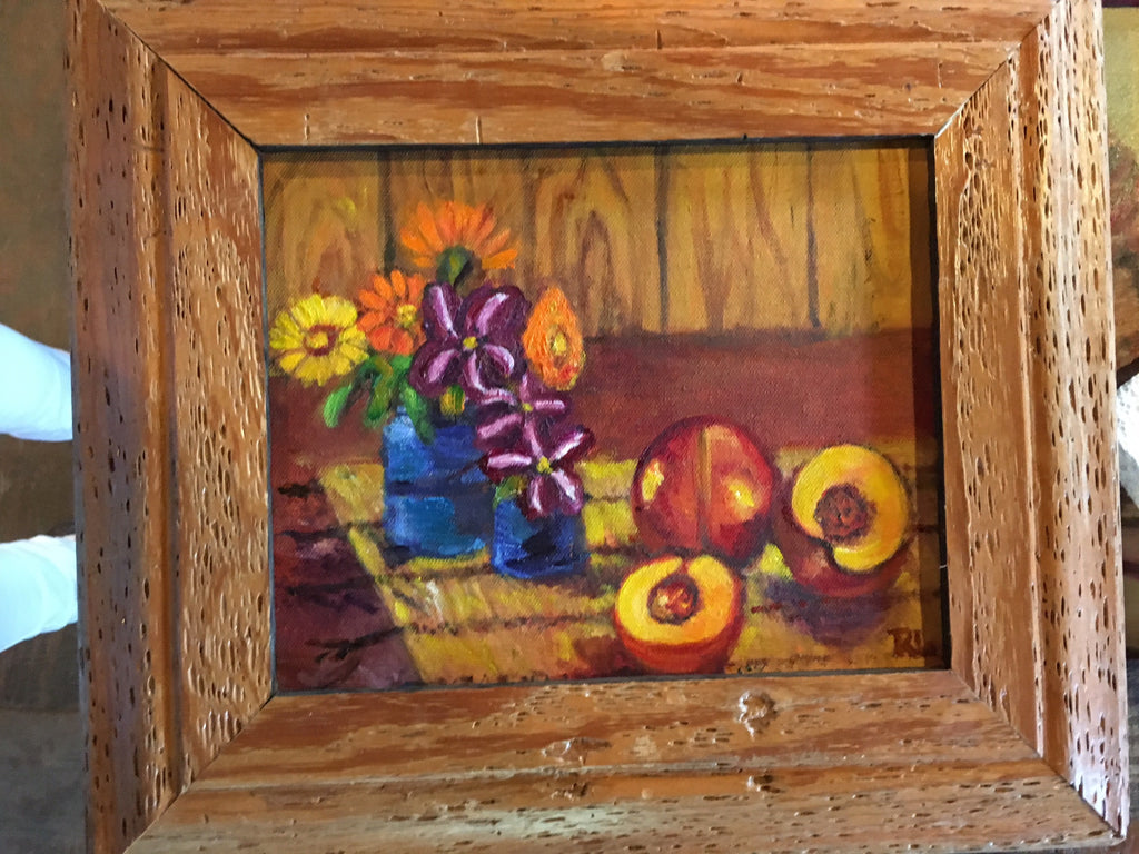 Still life with Peaches - Painting by Rose Lane Leavell