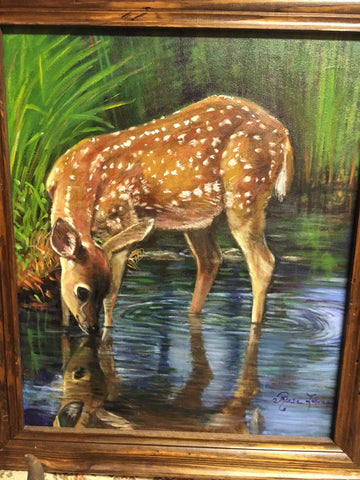 Fawn at Dawn - Painting by Rose Lane Leavell