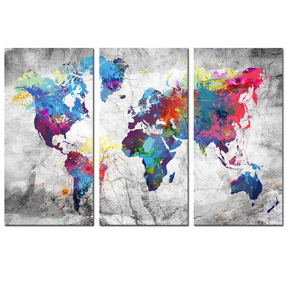 World Map in Paint Spatter