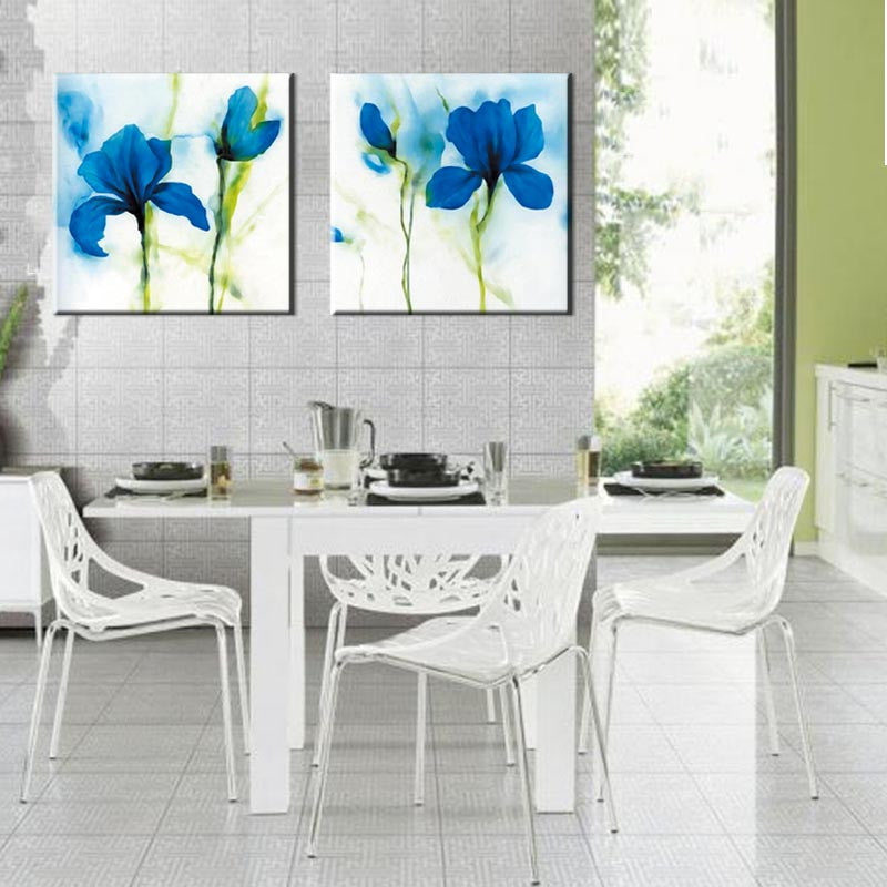Blue Flower, Abstract Accents - 2 Piece